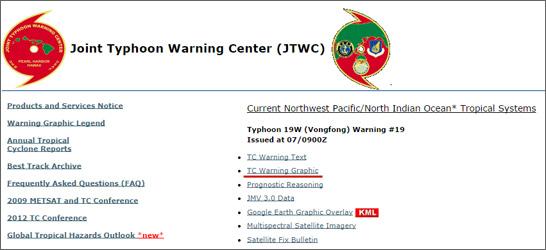 米軍による台風予報進路図